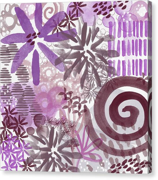 Orchid Canvas Print - Plum And Grey Garden- Abstract Flower Painting by Linda Woods