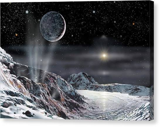 Sun Belt Canvas Print - Pluto And Charon by David A. Hardy