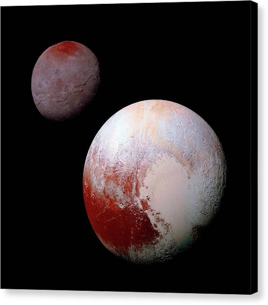 Sun Belt Canvas Print - Pluto And Charon by Nasa/jhuapl/swri