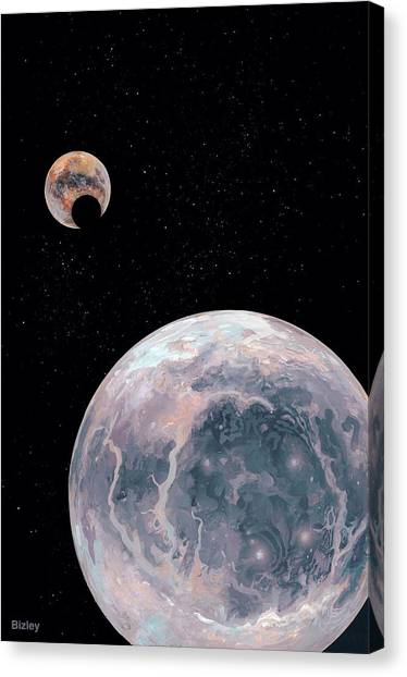 Pluto Canvas Print - Pluto Being Eclipsed By Charon by Richard Bizley