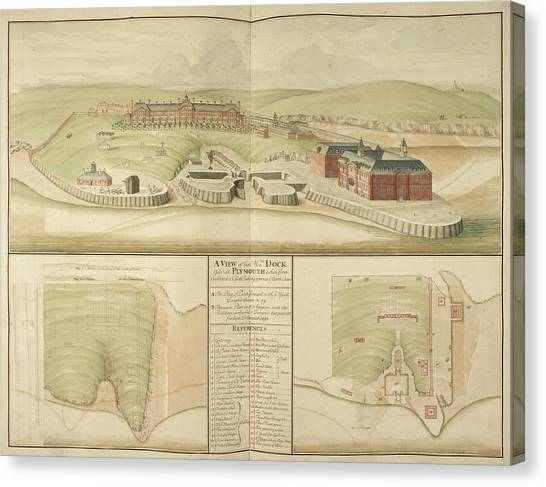 Principals Canvas Print - Plymouth Dockyard And Harbour In Devon by British Library