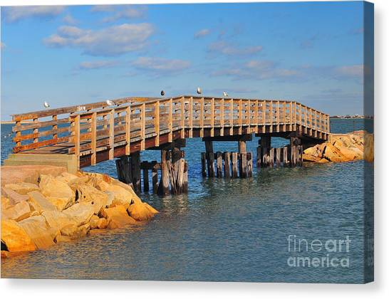 Catherine Reusch Daley Fine Artist Canvas Print - Plymouth Harbor Breakwater by Catherine Reusch Daley