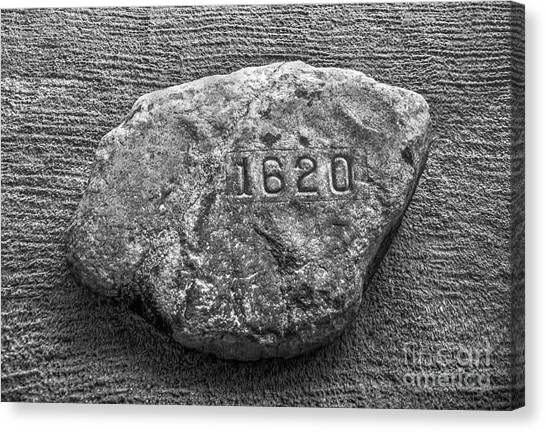 Pilgrims Canvas Print - Plymouth Rock In Black And White by Diane Diederich