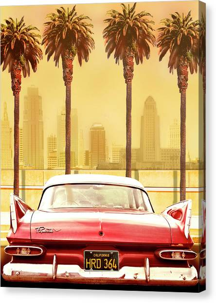 Los Angeles California Canvas Print - Plymouth Savoy With Palms by Larry Butterworth