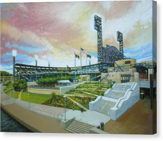 Roberto Clemente Canvas Print - Pnc Park Pittsburgh Pirates by Gregg Hinlicky