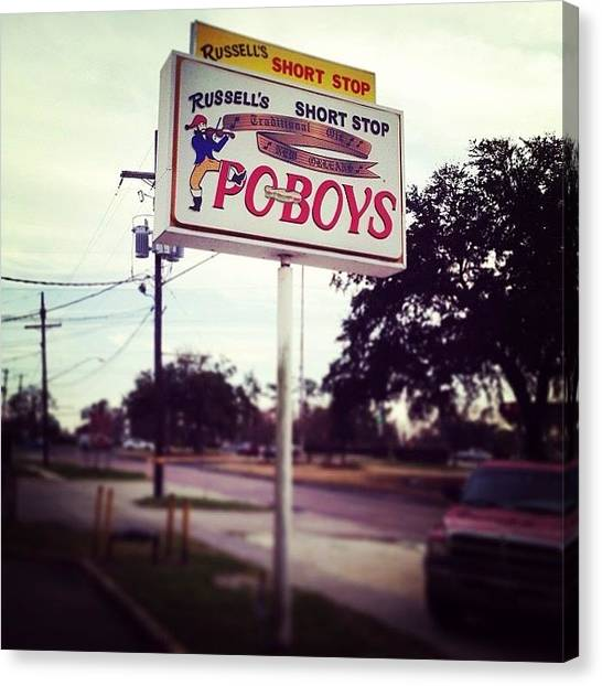 Sandwich Canvas Print - #poboys #mardigras #lousiana #nola by Jon Premosch