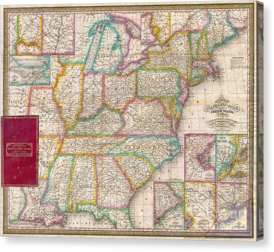 Pocket Map Of The United States Canvas Print by Paul Fearn