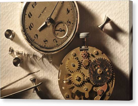 Pocket Watch Macro Number 1 Canvas Print by John B Poisson
