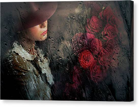 Red Roses Canvas Print - Poetry by Adela Lia