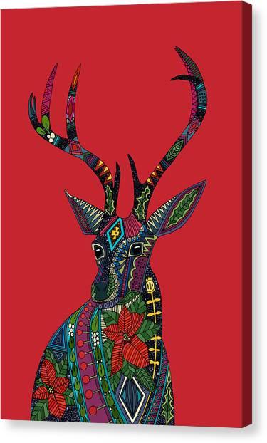 Mistletoe Canvas Print - Poinsettia Deer Head Red Single by Sharon Turner