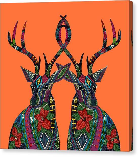 Mistletoe Canvas Print - Poinsettia Deer Spiced Orange by Sharon Turner