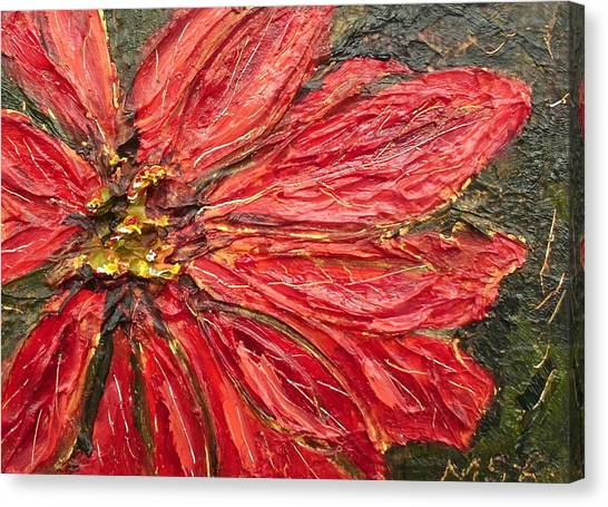 Poinsettia Sgraffito  Canvas Print by Maria Soto Robbins