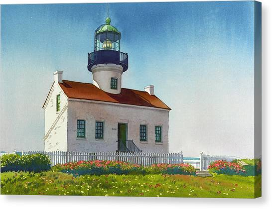 Coffee Mug Canvas Print - Point Loma Lighthouse by Mary Helmreich