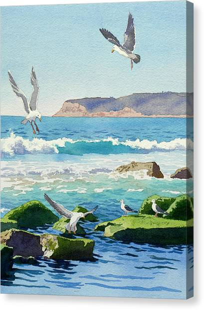 Seagulls Canvas Print - Point Loma Rocks Waves And Seagulls by Mary Helmreich