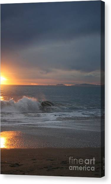 Point Mugu 1-9-10 Sun Setting With Surf Canvas Print