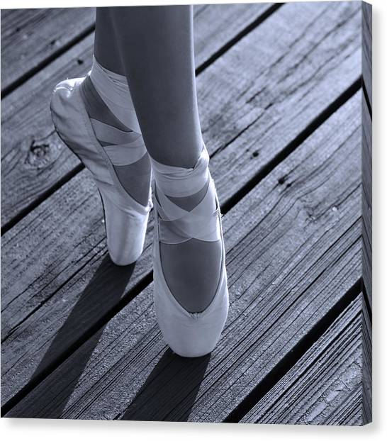 Ballet Shoes Canvas Print - Pointe Shoes Bw by Laura Fasulo