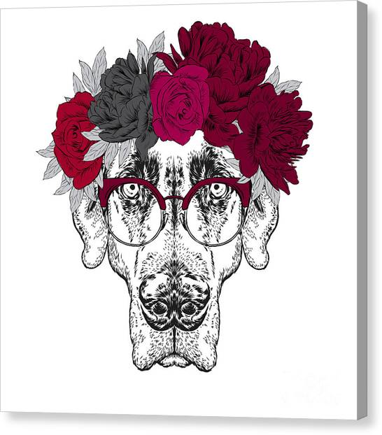 Pointer. Beautiful Dog In A Wreath Of Canvas Print by Vitaly Grin