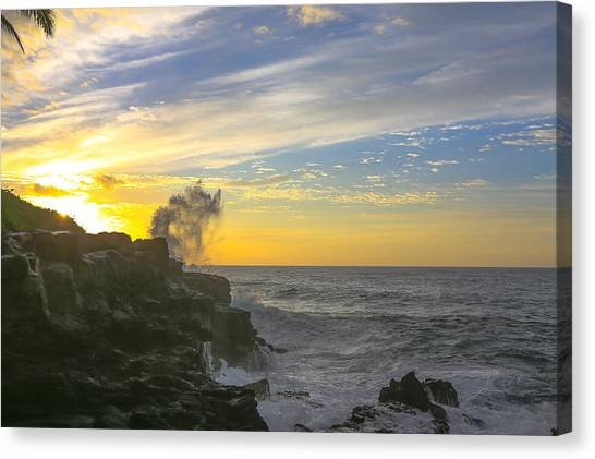 Poipu Kauai Sunrise Canvas Print by Sam Amato