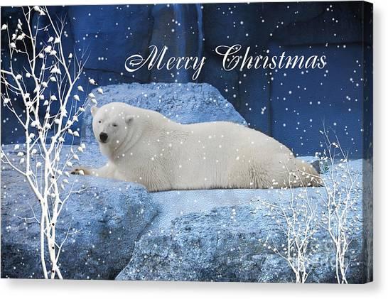 Polar Bear Christmas Greeting Canvas Print