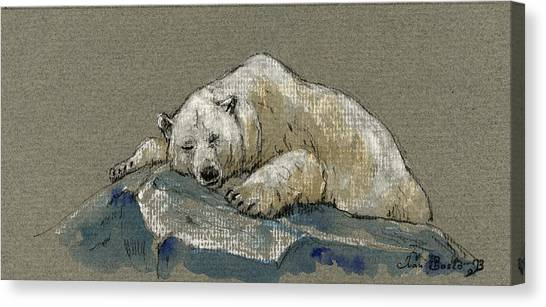 Polar Bears Canvas Print - Polar Bear Sleeping by Juan  Bosco