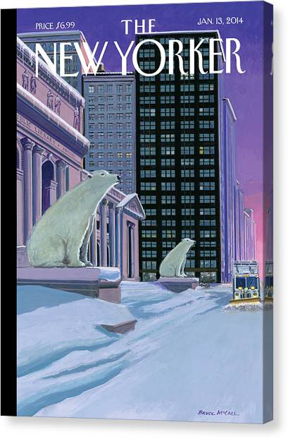 Libraries Canvas Print - Polar Bears Sit Outside The New York Public by Bruce McCall