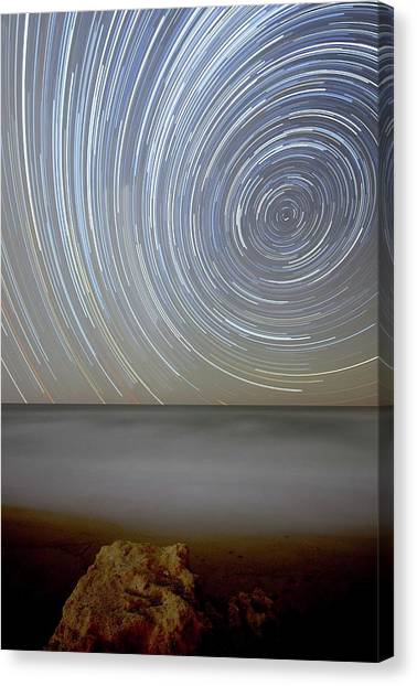 Argentinian Canvas Print - Polar Star Trails Over Coastal Waters by Luis Argerich