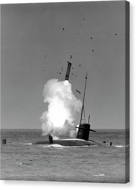 Warheads Canvas Print - Polaris Missile Launch by Us Navy/science Photo Library