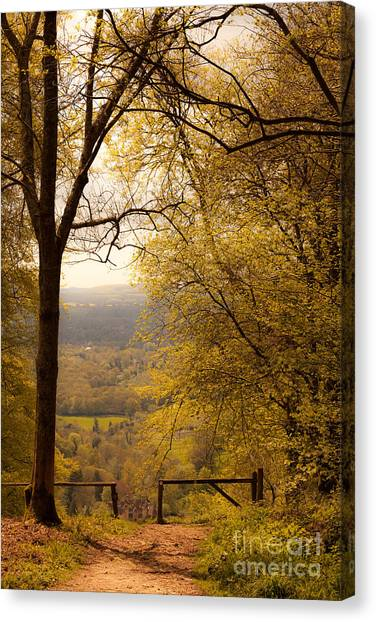 pole fence at top of picturesque view of Steep from Ashford Hang Canvas Print