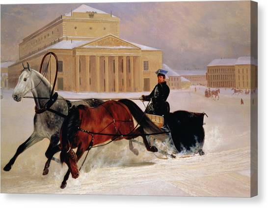 Moscow Canvas Print - Pole Pair With A Trace Horse At The Bolshoi Theatre In Moscow by Nikolai Egorevich Sverchkov