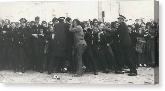Police Hold Back Screaming Fans Trying To Get Tickets Canvas Print by Retro Images Archive