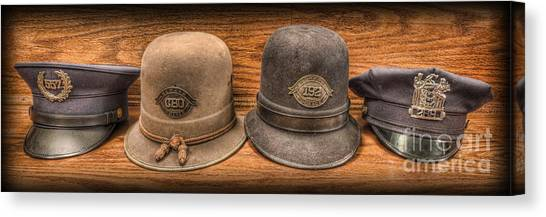 Police Officer - Vintage Police Hats Canvas Print