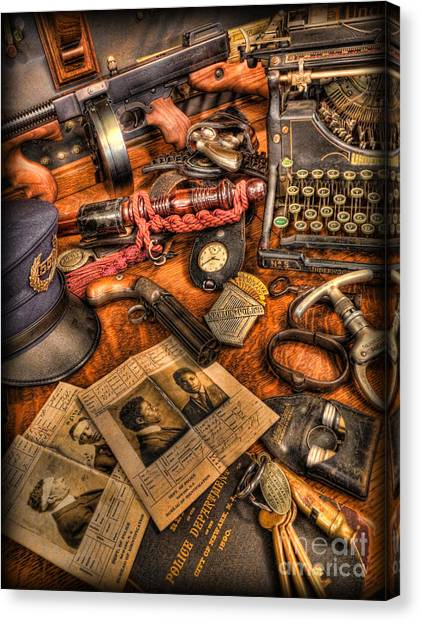 Police Officers Canvas Print - Police Officer- The Detective's Desk II by Lee Dos Santos