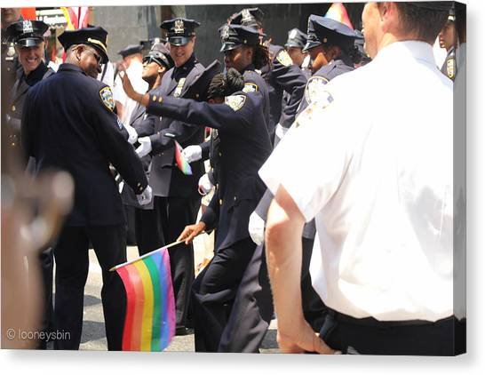 Gay Pride Canvas Print - Policewoman Pride Dance by Freya Doney
