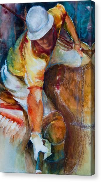 Polo Player Canvas Print by Jani Freimann