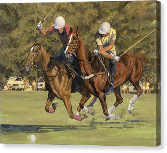 Polo Canvas Print - Polo Match by Don  Langeneckert