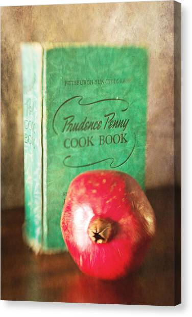 Pomegranate And Vintage Cook Book Still Life Canvas Print