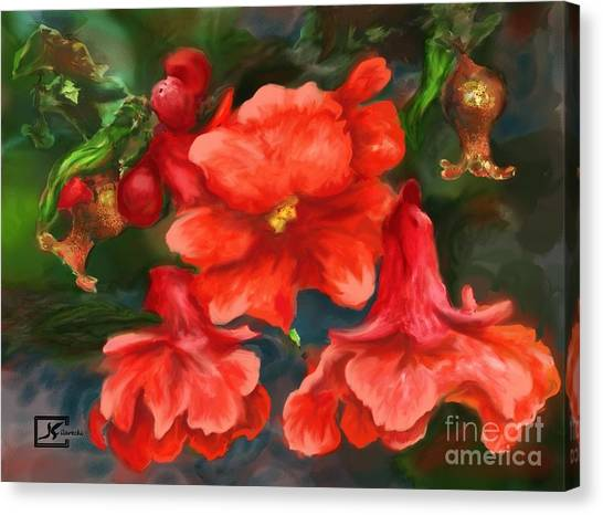 Pomegranate Blooms Floral Painting Canvas Print