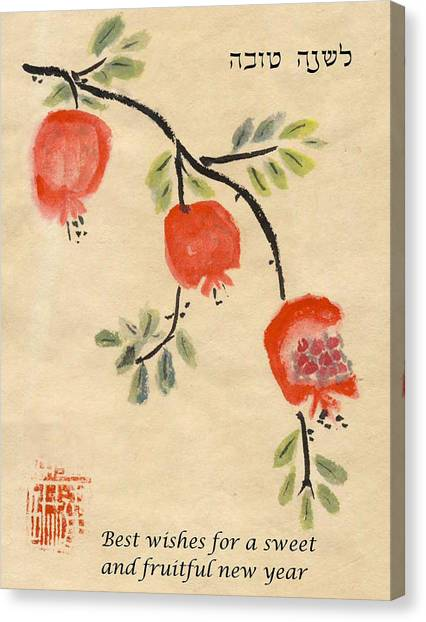 Canvas Print featuring the painting Pomegranates For Rosh Hashanah by Linda Feinberg