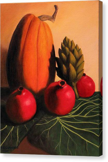 Pomegranates On Cabbage Leaves Canvas Print