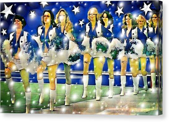 Dallas Cowboys Cheerleaders Canvas Print - Poms And Stars by Carrie OBrien Sibley