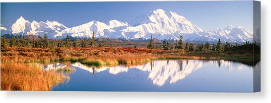 Tundras Canvas Print - Pond, Alaska Range, Denali National by Panoramic Images