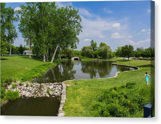 Ball State University Canvas Print - Pond At Ball State by Chris McCown