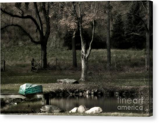 Pond Boat Canvas Print