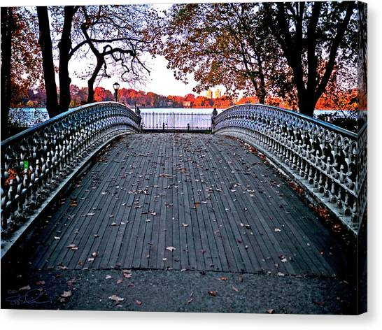 Pond Footbridge Canvas Print