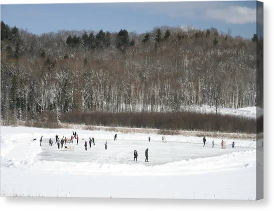 Pond Hockey Muskoka Canvas Print by Carolyn Reinhart