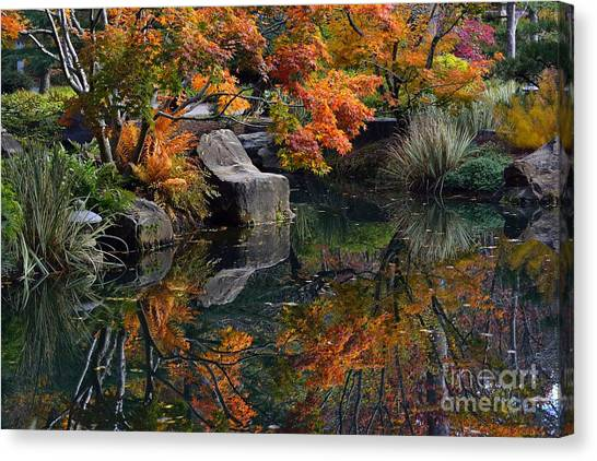Pond In Autumn Canvas Print