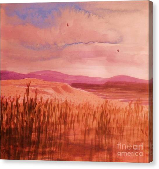 Pond In Drought Canvas Print