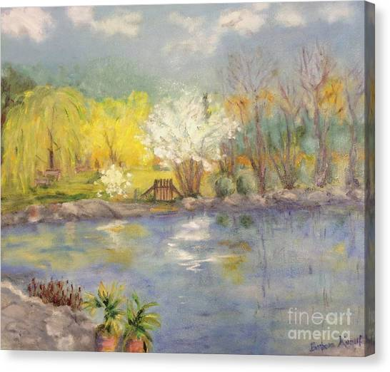 Pond In Ulm Germany In Spring Canvas Print