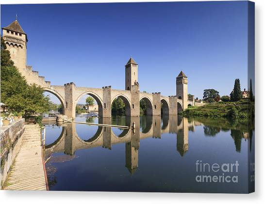 Fortification Canvas Print - Pont Valentre Cahors France by Colin and Linda McKie