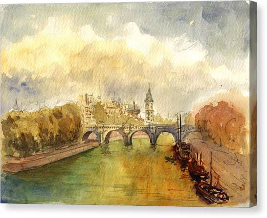 Cathedrals Canvas Print - Ponte Neuf Paris by Juan  Bosco